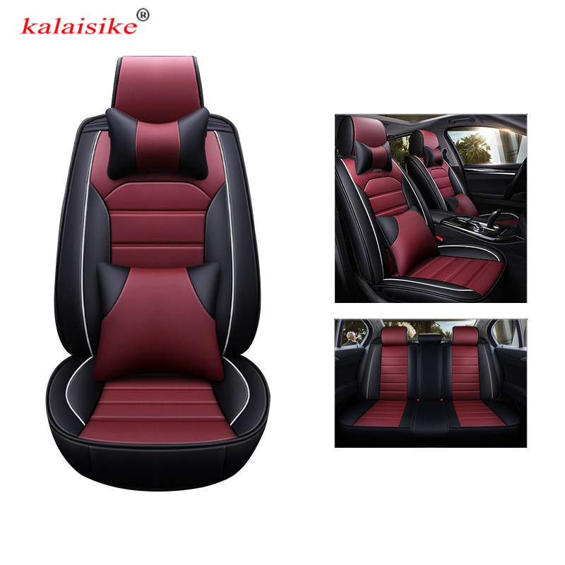 kalaisike universal leather car seat covers for Mercedes Benz all models E C GLA CLA CLS S A G GLS GLE GL B CLK SLK ML GLK class car steering wheel emblem stickers for benz a b e s gle glk gla