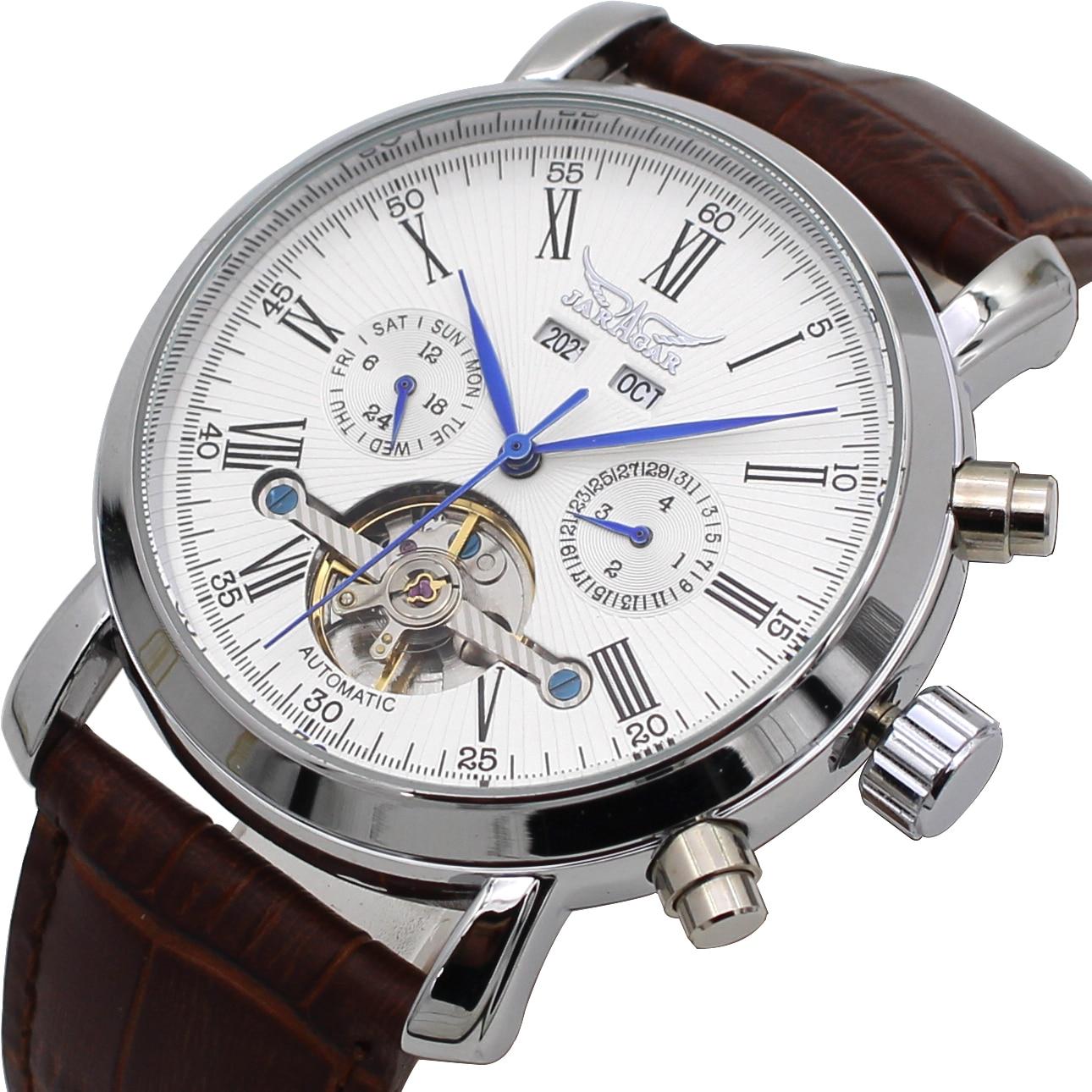 JARAGAR montre homme automatique mécanique Tourbillon montre top marque luxe calendrier jour semaine année montre cuir Reloj hombres