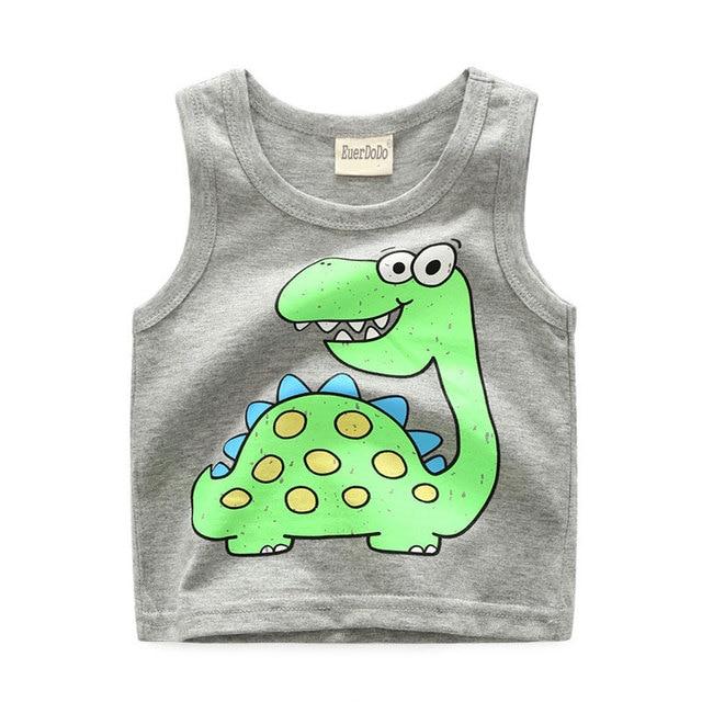 Summer Children Shirts Cartoon Tops For Girls Kids Underwear Model Cotton Boys Undershirt Toddler Vest Baby T-shirt