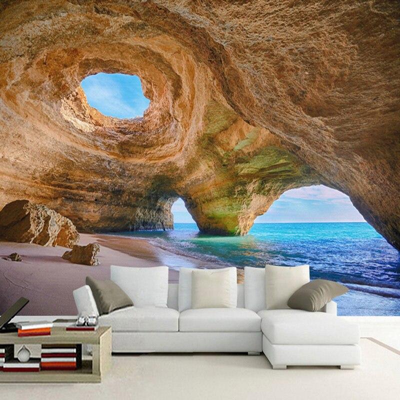 Personalized Customization Seaside Cave Wall Painting Wallpaper Restaurant Clubs Mural Modern Creativity Decor Papel De Parede