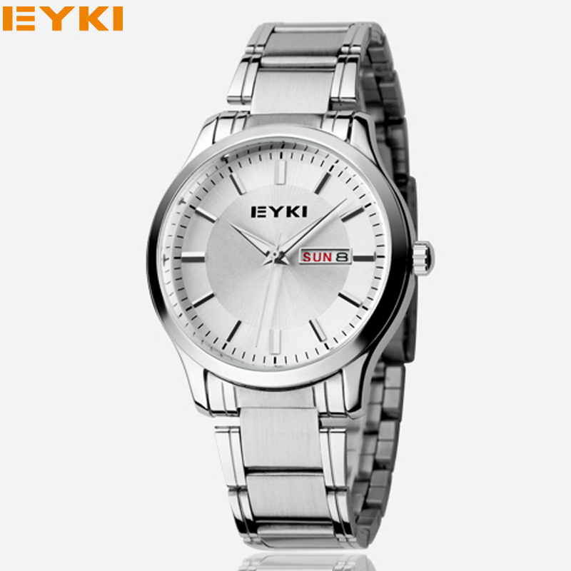 Prix pour Nouvelle mode 2017 eyki hommes femmes d'affaires montre en or bracelet en acier inoxydable montres de luxe marque couple montre avec calendrier