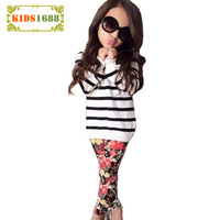 Winter Children Set Striped T Shirt Floral Bottoming Trousers Girls Sets Fashion Children Outerwear Clothes Casual