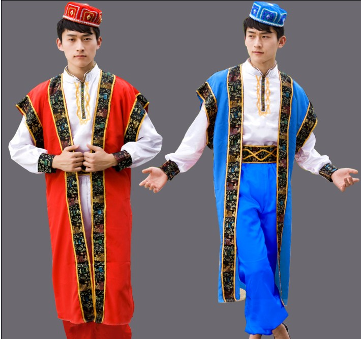 Men Dance Costumes Xinjiang Uygur clothing Chinese Minority Clothing, stage performance, men's clothes with hat