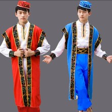 Men Dance Costumes Xinjiang Uygur clothing Chinese Minority Clothing stage performance men s clothes with hat