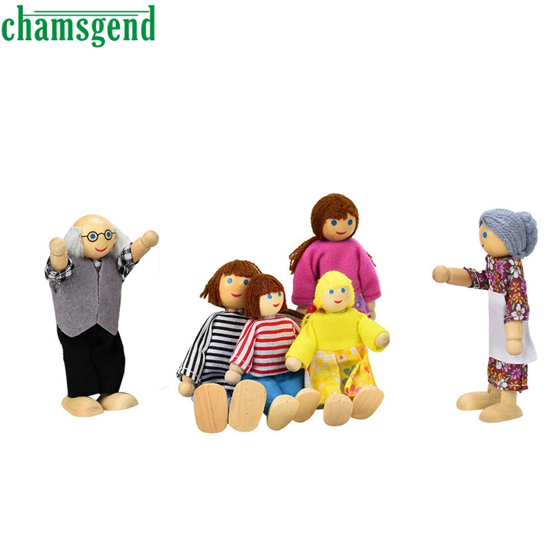 CHAMSGEND Best seller drop SHIP 6 Dolls Cartoon Wooden House Family People Kids Children Pretend Play Gift Toy S50