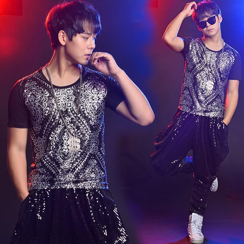 Fashion Nightclub Jazz Dance Costume Men s Korean Version Jacket tops Pants Nightclub Male Singer Dj