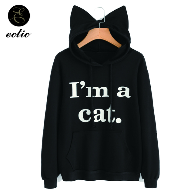 ECTIC Cat Ears Kawaii Poleron Mujer 2018 Letter Printed Sweatshirt Pocket Women Kpop