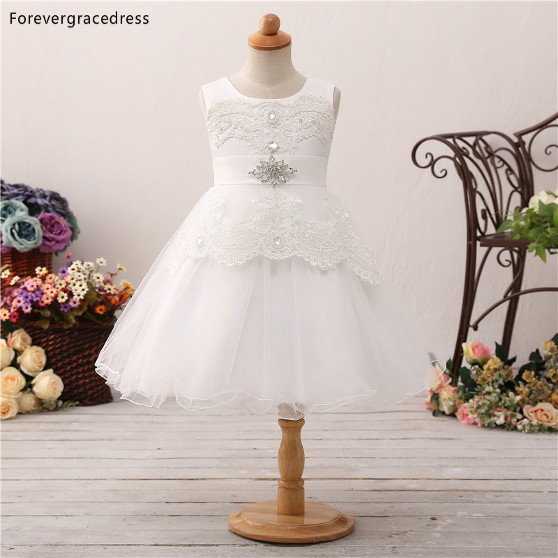 Forevergracedress Elegant Lovely White   Flower     Girls     Dresses   2019 Crystals Sleeveless Kids Pageant Children Gowns