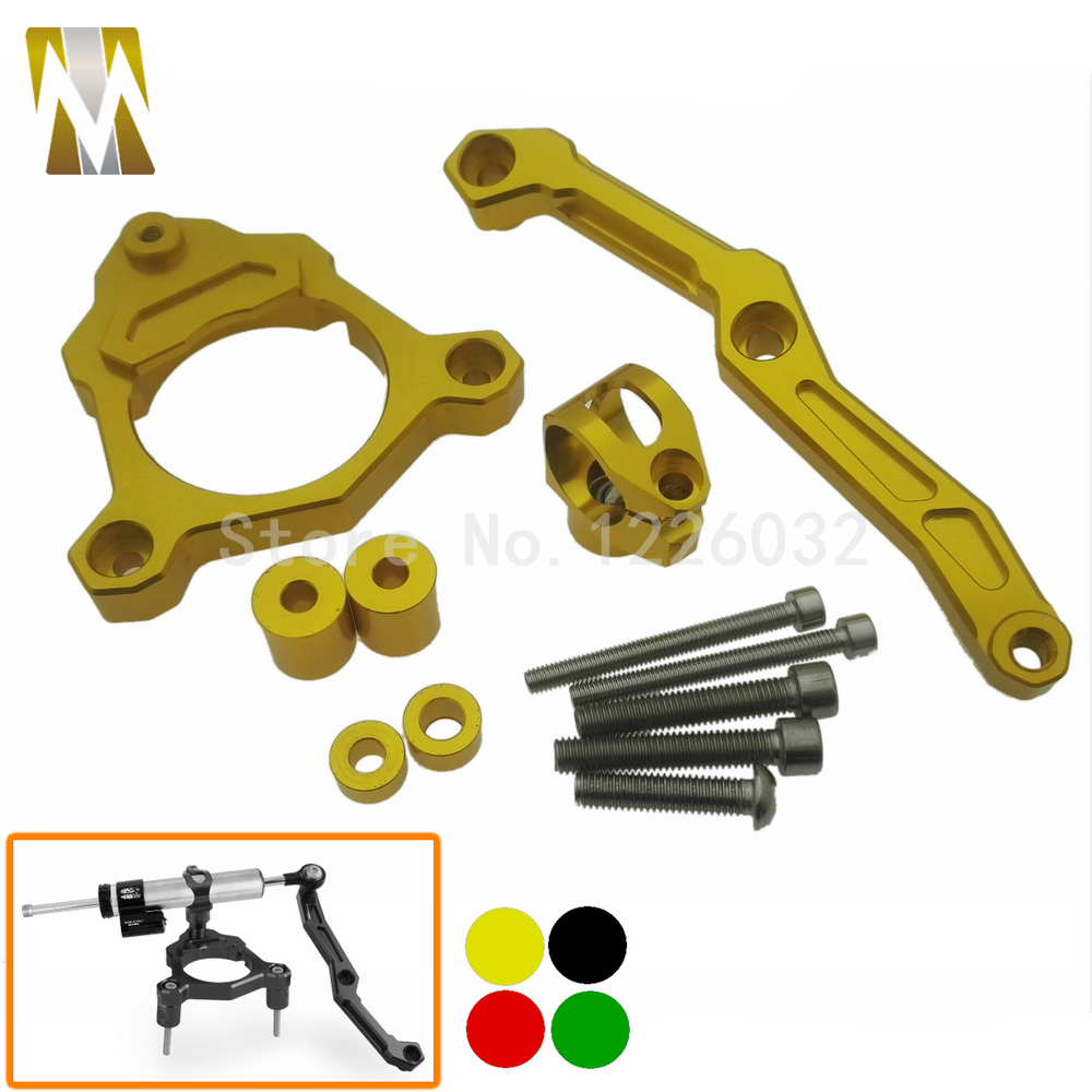 Gold Colors Aluminum Steering Damper Stabilizer Bracket Mounting Support Kits Fit For KAWASAKI Z800 2013-2015 2013 2014 2015  fxcnc aluminum steering damper stabilizer bracket mounting support kits fit for honda cbr600 f4i 1999 2004