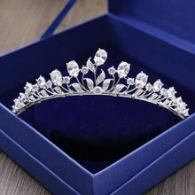 Red Trees Brand High Quality Wedding Hair Accessories Luxury Sparkly AAA Cubic Zircon Princess Bride Crown Head Jewelry(China)