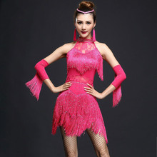 Ladies Latin Dance Dress Fringe Women Ballroom Dancing Dresses Costume Dance Latin Tango Samba Skirts Dress and Gloves A7