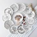 Высококачественный Черный и Белый Животных Костяного Фарфора Торт Блюда И Тарелки Фарфор Кондитерские Корзина С Фруктами Керамическая Посуда Для стейк Ужин
