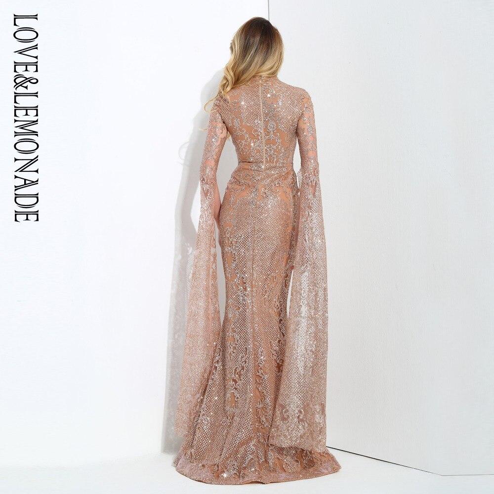 Amor y limón Rosa oro cortado altavoz manga larga geometría Glitter vestido largo glaseado LM0702 Otoño/Invierno-in Vestidos from Ropa de mujer    3