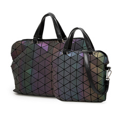 hot deal buy luminous briefcases tote geometry holographic quilted shoulder bags folding handbags vs shot light it will reflect fluorescence