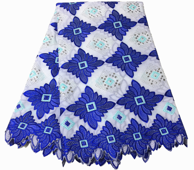 nigerian lace fabric 2018 high quality lace blue and white swiss voile lace in switzerland African
