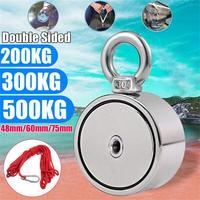 200/300/500KG strong powerful round Double Side Neodymium Metal Magnet Detector Fishing Kit with ring+10M Rope L523