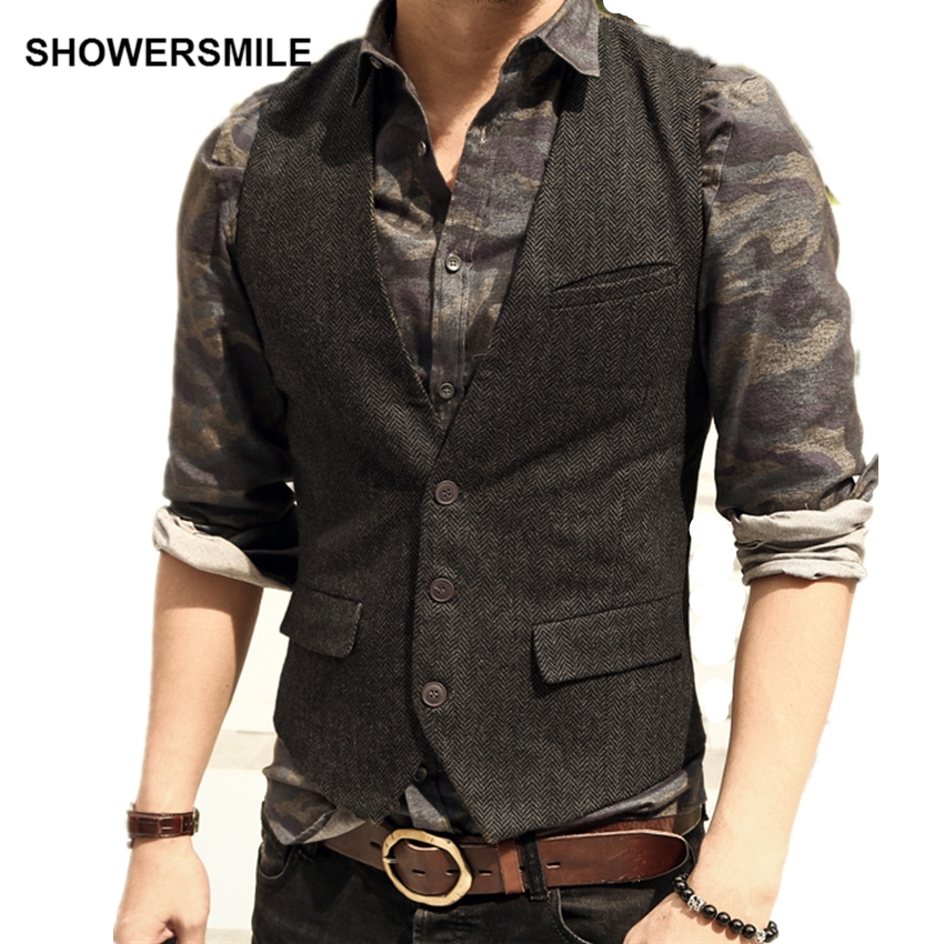 SHOWERSMILE Herringbone Striped Grey Suit Vest Single Breasted Vintage Waistcoat Men England Style Autumn Plus Size Gilet Homme