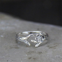 1Pc Rose Silver Ring Retro Style Of Antique 925 Silver Rose Flower Branch With Thorns Silver Plant Rings Women Girls Alibaba-exp цена