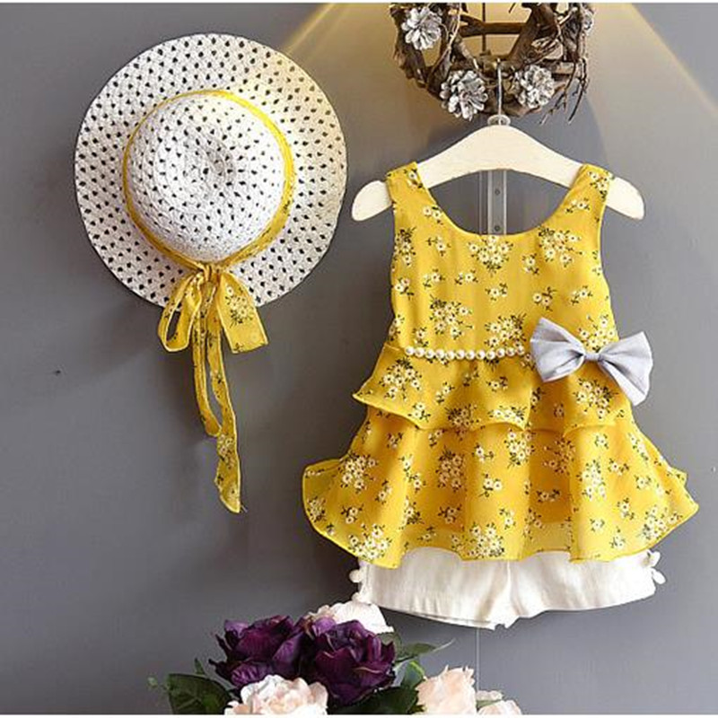 Girls Clothing Sets New Summer Children Suits kids Sets Floral Chiffon Flounce dress+Short 2 Pcs Bow Pearl Kids Clothing Sets