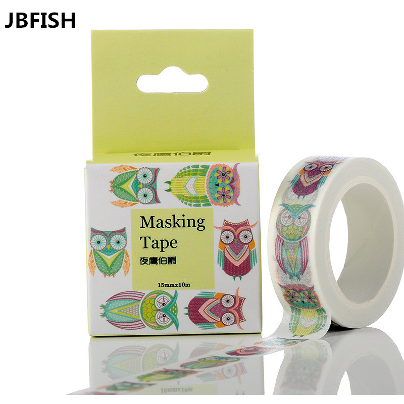 JBFISH Many owl tapes Size 15 mm paper japanese washi tape decorative adhesive tapes 10m 3006