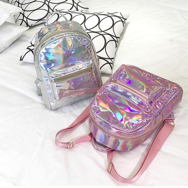 Silver Gold Laser Backpack women girls Bag leather Holographic Backpack  school bags for teenage girls Transparent