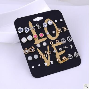 2016 Hot Claire Fashion Women Accessories Stud Earring Set Stars Cross Rose Flower Love Heart Pearl Wholesale Earrings 20 Pairs