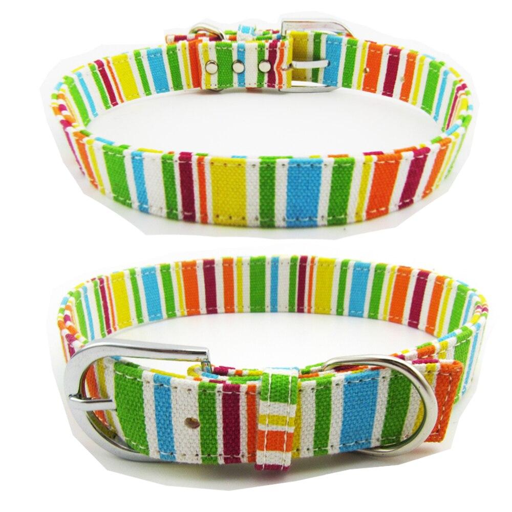Multicolor Big Dog Collar Canvas Pet Collars Puppy for Medium Dogs Necklet Pets Cat Necklace Rainbow Color Neck Strap