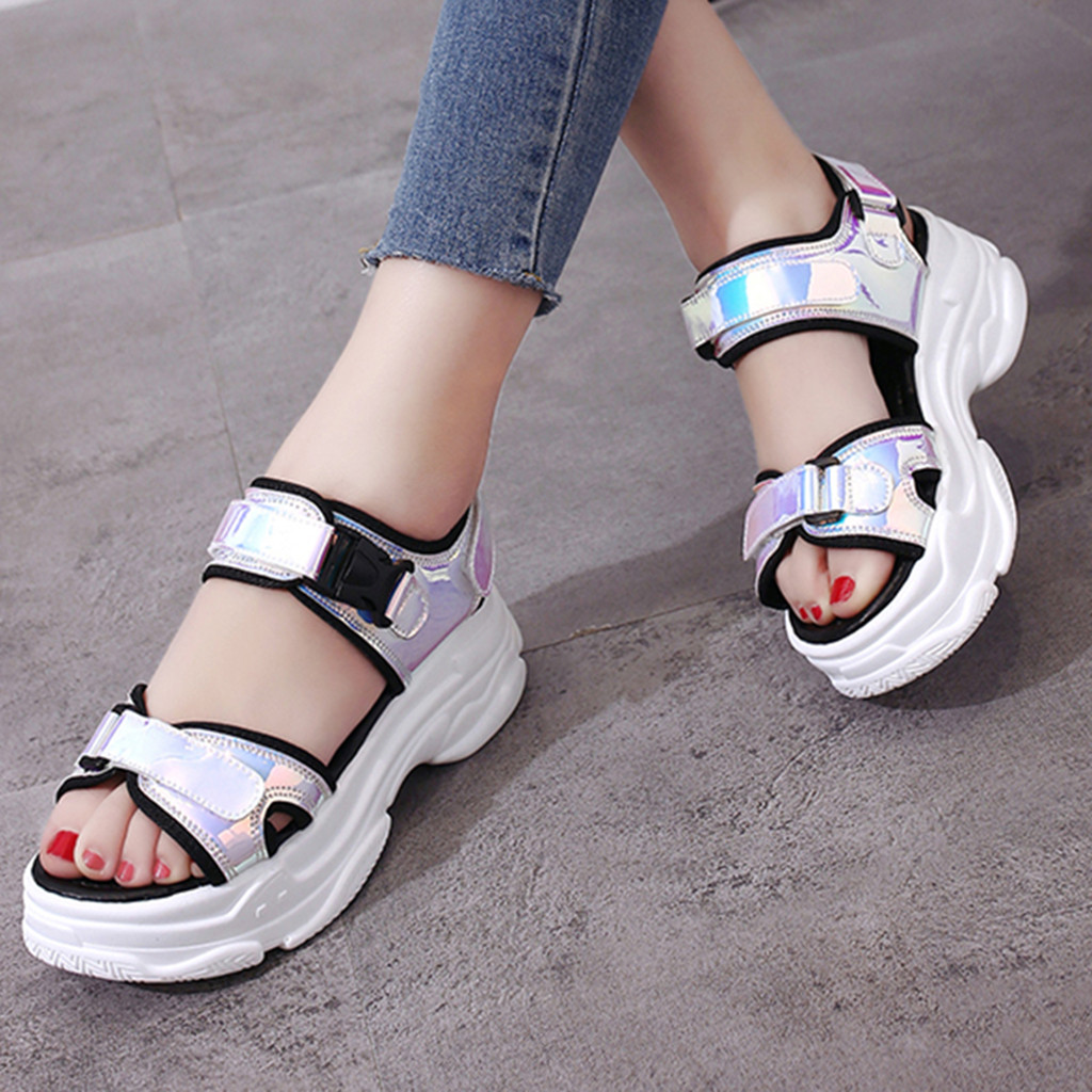 2019 New Fashion Summer Women Sandals Female Beach Shoes Bright Leather Shoes Wedge Platform Sandals Plus Size