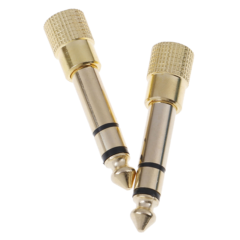 2PCS Gold Copper 6.35mm Male Plug To 3.5mm Stereo Female Headphone Jack Audio Adapter Fit Tattoo Power Supply