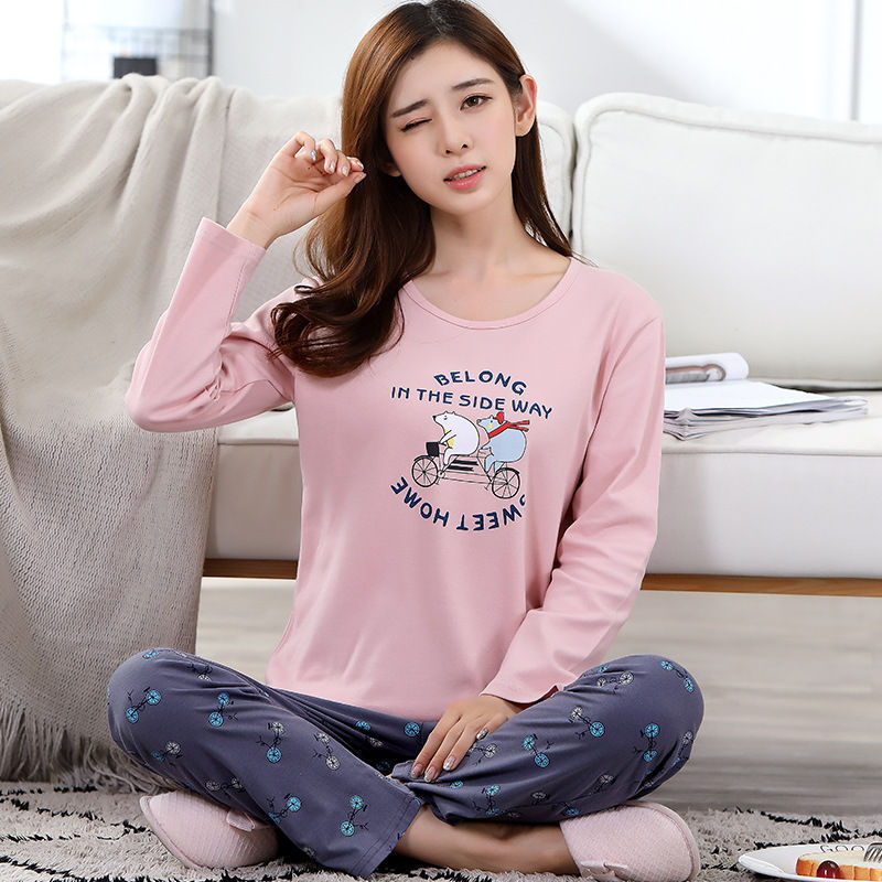 2019 Women Pajamas Sets Autumn Winter New Women Pyjamas Cotton Clothing Long Tops Set Female Pyjamas Sets NightSuit Mother Sleep 83