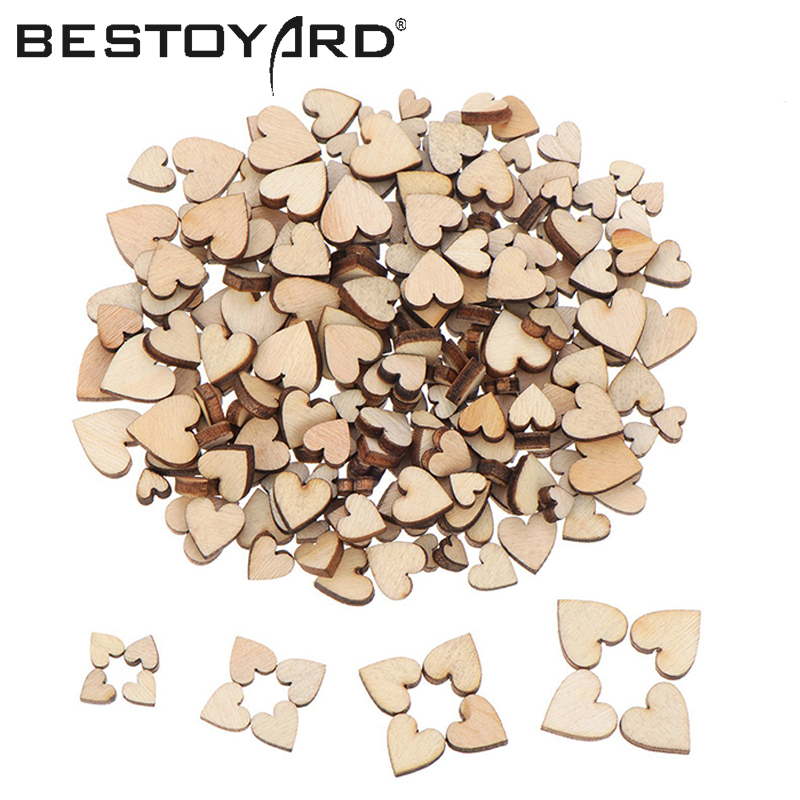 200pcs Wooden Heart Confetti For Craft Wedding Party Favor Baby Shower Decor DIY Table DIY Crafts Christmas Decoration ...