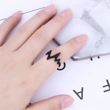 Fashion Simple Heart Ring Heartbeat ECG Black Gold And Silver Medical Men Women Jewelry Single Gift