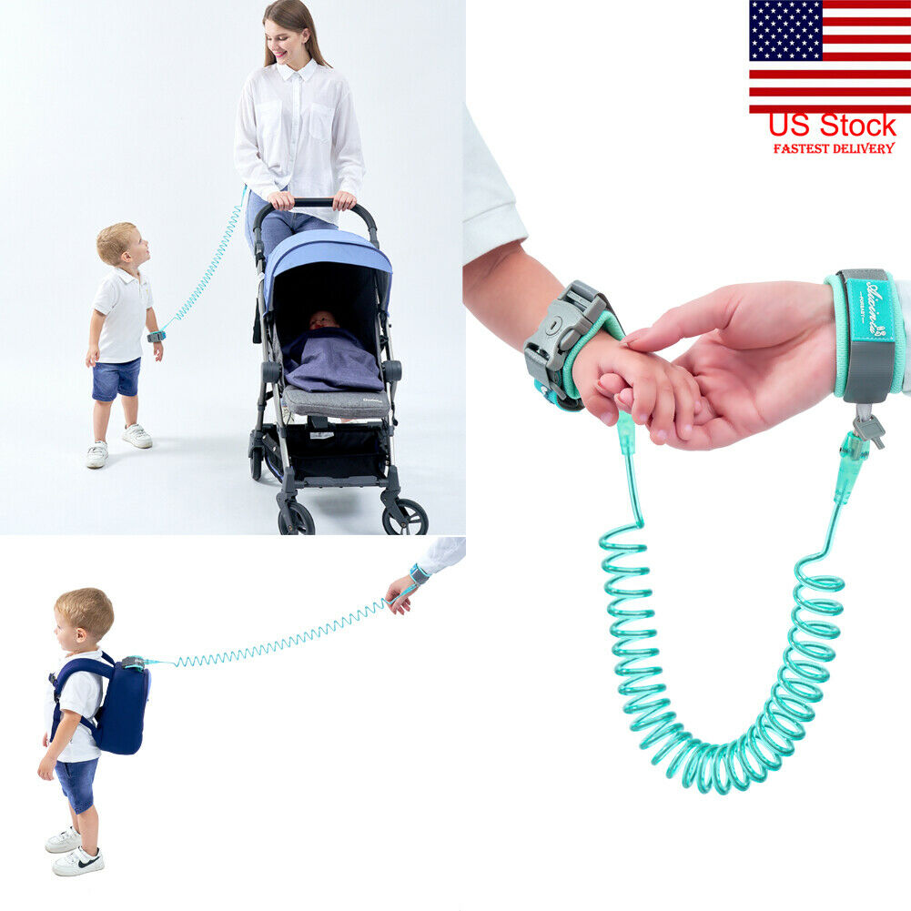 US 360°Anti Lost WristLink Solid Traction Rope Unisex Toddler Kids PU Plastic Adjustable Safety Harness Leash Strap 1-12T