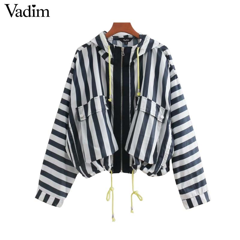 Vadim women striped hooded loose jacket oversized pockets Drawstring tie coat ladies outerwear casual chic tops CA040
