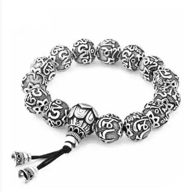 Xiangcheng silver six words on hand S990 Zuyin silver silver gift couple Bracelet beads Retro