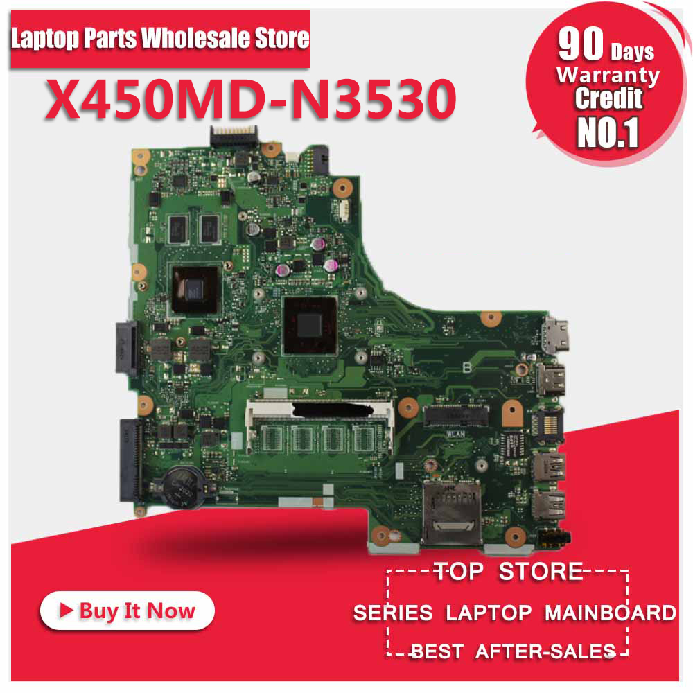 For Asus X450MD X450M X452M N3530U REV2.0 Laptop Motherboard System Board Main Board Mainboard Card Logic Board Tested Well laptop mainboard for ibm thinkpad t420 motherboard 63y1967 system board 100% tested ok