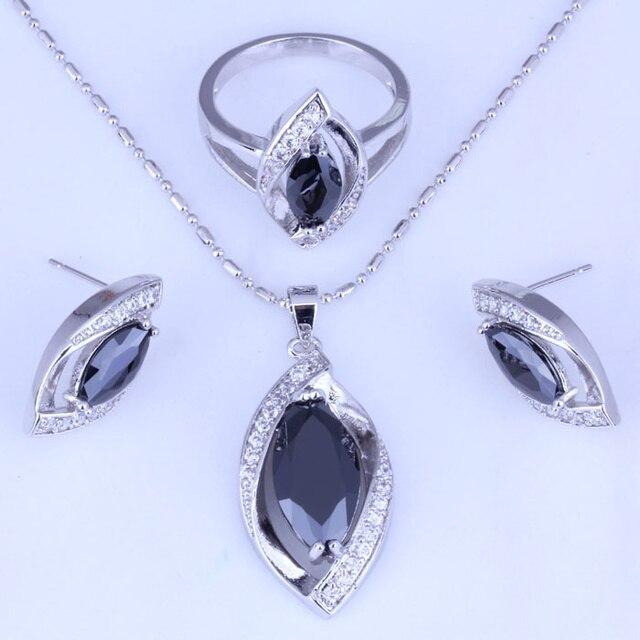 Tuyệt vời Đen Giả Onyx & Trắng Cubic Zirconia Earrings/Mặt Dây Chuyền Vòng Cổ/Nhẫn 925 Tem Bạc Màu Bộ Đồ Trang Sức H0242