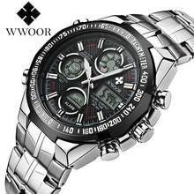 Wwoor бренд мужской спортивные часы мода led lcd цифровой кварцевые наручные часы повседневная открытый часы движением кварца япония 2017