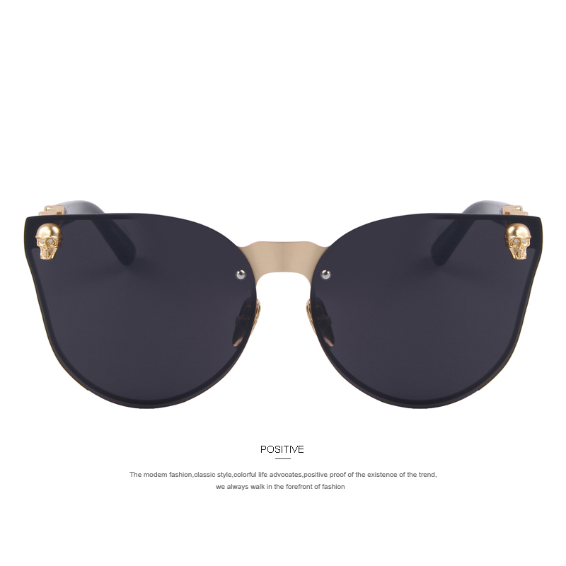 MERRY'S Fashion Women Gothic Eyewear Skull Frame Metal Temple Oculos de sol UV400 1