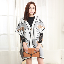 Plus Size Spring winter Fashion Women Cotton Blouses Geometric Tribal Print V neck White Color Hem