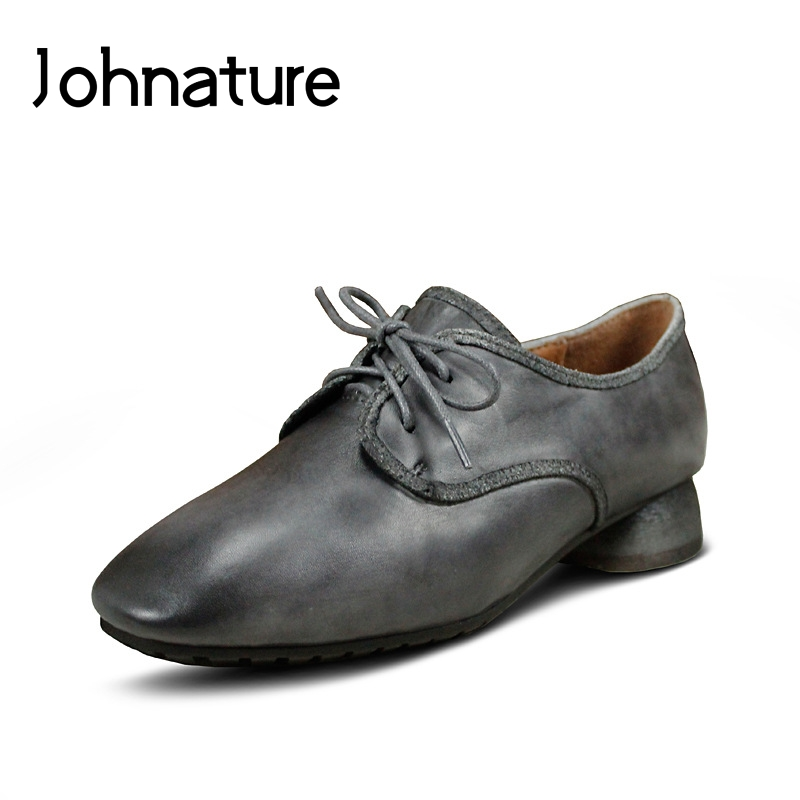 Johnature 2019 New Spring/autumn Handmade Genuine Leather Round Toe Retro Casual Lace Up Cross-tied Low Heels Lady Shoes PumpsJohnature 2019 New Spring/autumn Handmade Genuine Leather Round Toe Retro Casual Lace Up Cross-tied Low Heels Lady Shoes Pumps