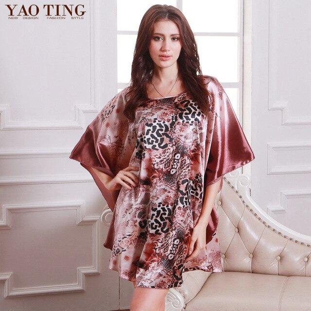 New Plus Size Women Nightgown Night Dress Nightwear Sexy Silk Satin Nightdress Night Gown Robes Bathrobe longue femme 7050-4