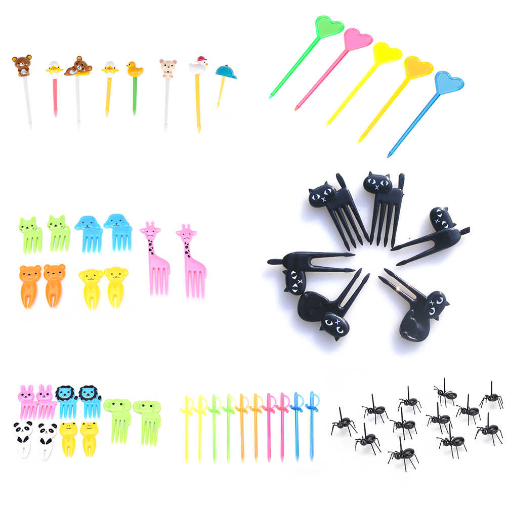 6/8/10/12/50pcs Reusable Pick Toothpick Plastic Forks Animal Bento Accessories Kitchen Bar Kids Dessert Tableware Party Supplies