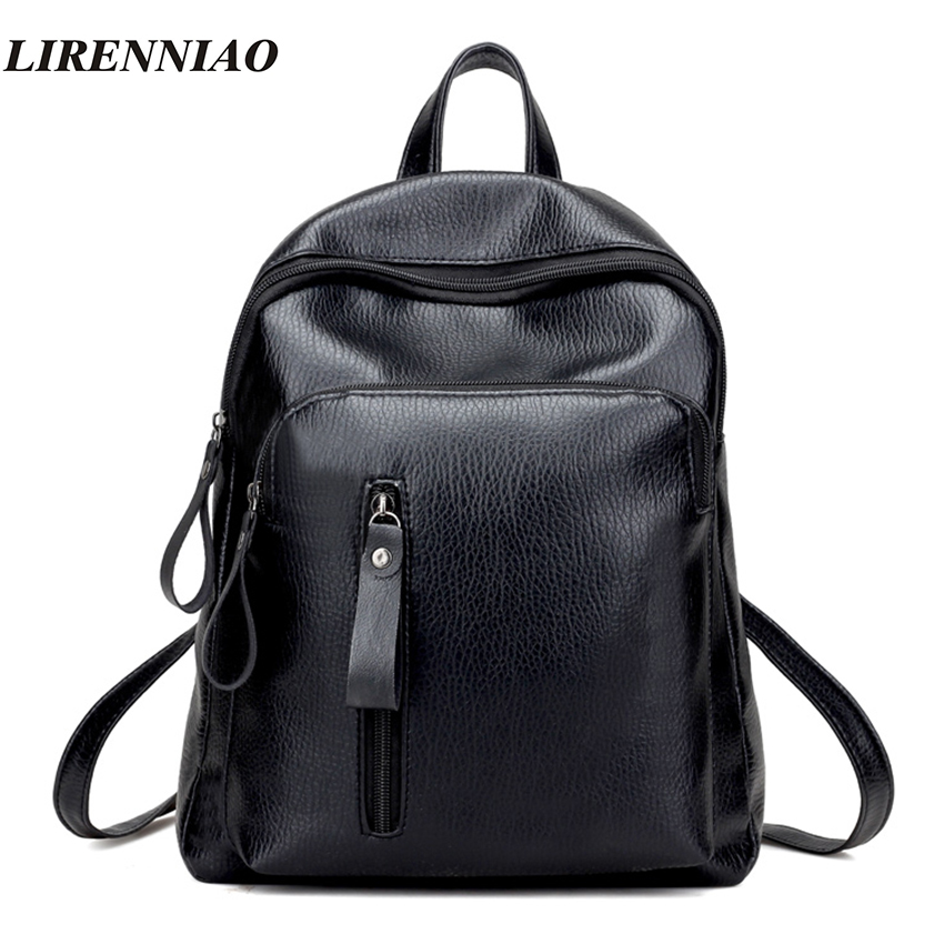 High Quality Leather Backpack Fashion Solid Backpacks For Teenage Girls School Bags Big Capacity Women Backpack Black Mochila