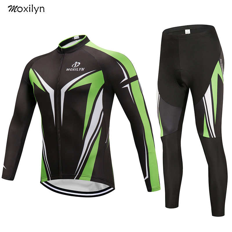 Moxilyn Cycling Jersey Set Winter Thermal Fleece Clothing MTB Bicycle Clothes Wear Maillot Ropa Ciclismo Men Green Cycling Set