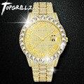 TOPGRILLZ мужские часы серебристого и золотого цвета мужские часы лучший бренд класса люкс браслет с бриллиантами кварцевые наручные часы из не...
