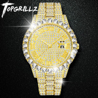 TOPGRILLZ Men Watch Sliver Gold Mens Watches Top Brand Luxury Diamond Bracelet Stainless Steel Quartz Wristwatch Business Clock