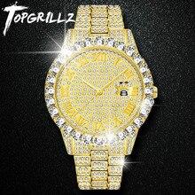 TOPGRILLZ גברים שעון רסיס זהב Mens שעונים למעלה מותג יוקרה יהלומי צמיד נירוסטה קוורץ שעוני יד עסקי שעון