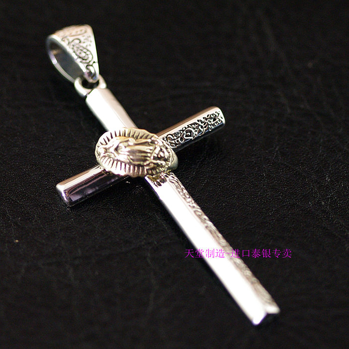 Thailand imports, 925 Sterling Silver Genuine GV new meticulous Cross Pendant thailand imports retro 925 sterling silver cross pendant