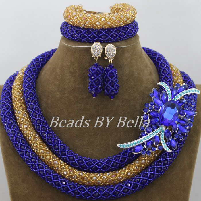 Royal Blue Bridal Jewelry Sets Gold Nigerian Wedding Crystal Necklace African Beads Jewelry Set New Brooch Free Shipping ABF526Royal Blue Bridal Jewelry Sets Gold Nigerian Wedding Crystal Necklace African Beads Jewelry Set New Brooch Free Shipping ABF526
